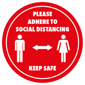 Social distancing stickers in red