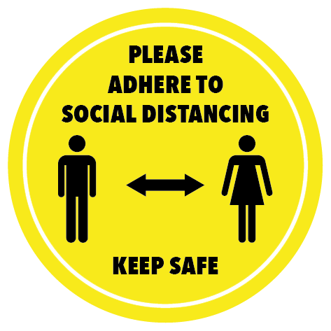 Social distancing stickers in yellow